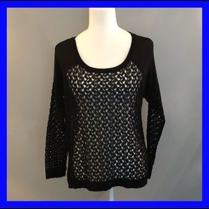 BoBeau long sleeve crocheted black sweater. Small